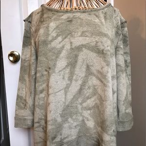 "Free People Tops - ""Free People"" olive tie-dye pullover"